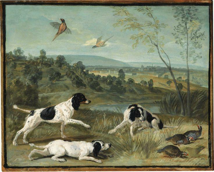 François Desportes (Champigneulle 1661 - 1743 Paris), Bonne, Nonne et Ponne, chiennes de Louis XIV (Bonne, Nonne and Ponne, dogs of King Louis XIV). Huile sur papier marouflé sur panneau parqueté, 34 x 40 cm ; 13 3/8 by 15 3/4 in.