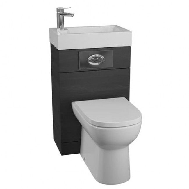 Vellamo Structure All In One Black Ash Basin U0026 Toilet Unit With D