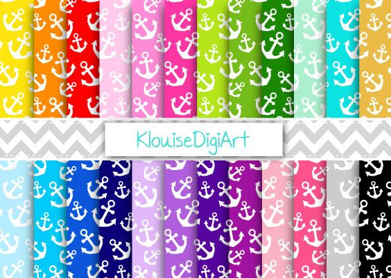 Rainbow and Pastel Nautical Anchors Printable by KlouiseDigiArt