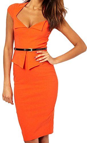 cb400d7716d Vska Women s Fashion Turn-down Collar Knee Length Pencil Dress ...