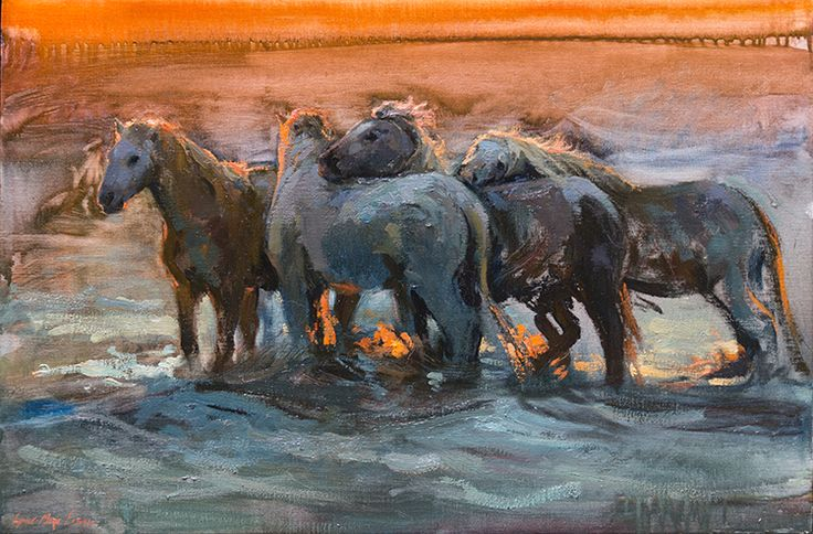The Light of the Givers, Oil painting by Lynne-Marie Eatwell, Camargue Horses, Equine Art, White Horses