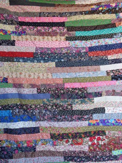 Quilt Patchwork handmade multicolor fabric cover  blanket