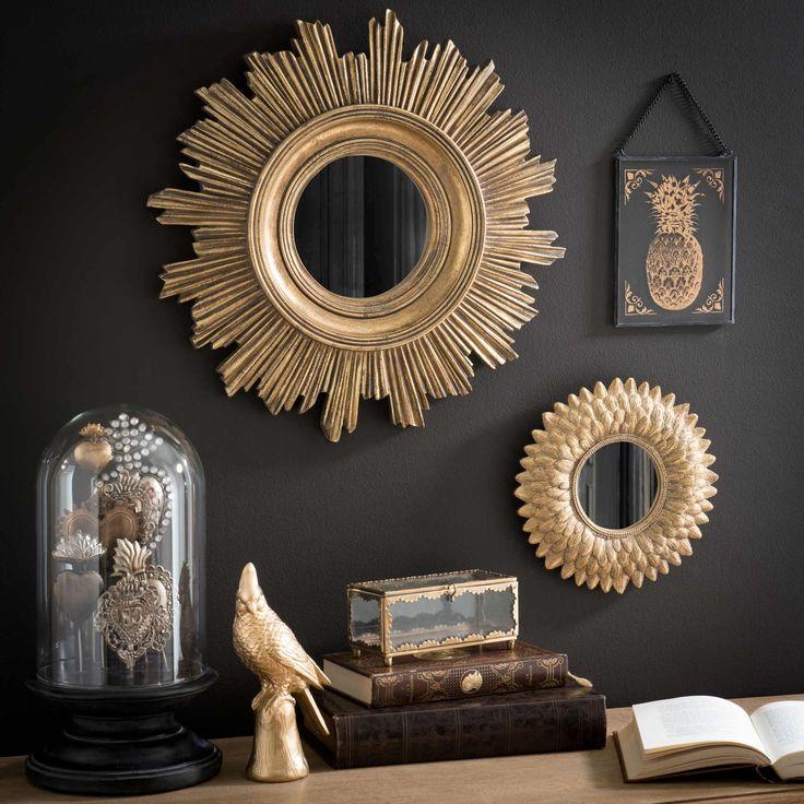 Miroir rond doré D 44 cm BURTON  33€