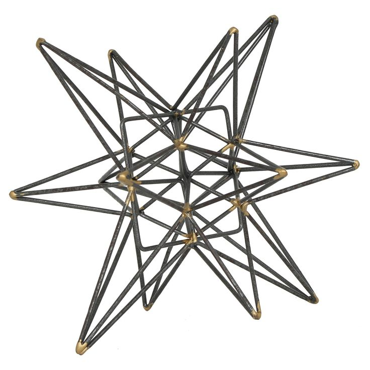Add a touch of sophistication to any room with this contemporary metal tabletop accessory by E2 Concepts for Masterpiece Art Gallery.  This item features a beautiful grey finish with gold accents on an intricate geometric design, perfect with any type of home decor.  Display alone, or paired with other home accessories by E2 Concepts for Masterpiece Art Gallery. Wipe clean with a dry cloth.  Each piece sold separately.