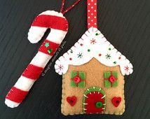 Gingerbread house and Candy cane. Set of two felt ornaments. Christmas decorations. Handmade.Home decor. Gift tag.