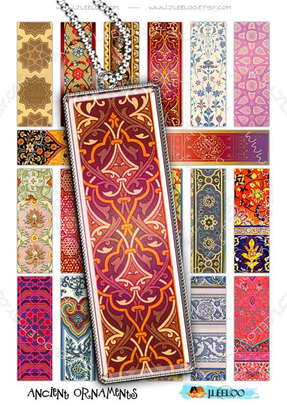 Digital collage sheet ANCIENT ORNAMENTS microscope printable 3x1 inch antique tile instant download background  paper - do110