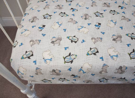 Holiday Christmas Winter Pre-Washed Flannel White Blue Gray Fitted Crib Cot Fitted Sheet / Changing Pad Cover  Polar Bear Penguin Fox