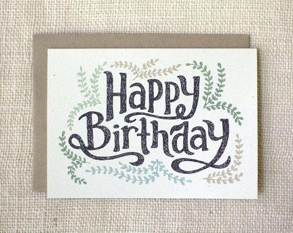 Birthday Card Pretty Birthday Card by witandwhistle on Etsy, $4.50