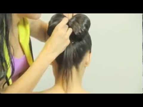 Bun with hair bow for long hair. Updo hairstyles. Прическа: Бабетта с бантом из волос. - YouTube
