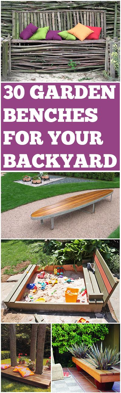 30 DIY Garden benches for your backyard.  Great ideas, designs and tutorials