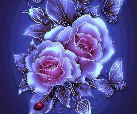 Group Of Pretty Neon Roses Wallpaper