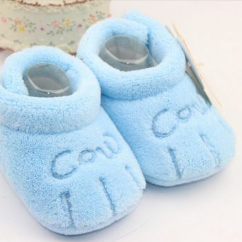 Newborn Baby Letter Embroidered Coral Fleece Shoes