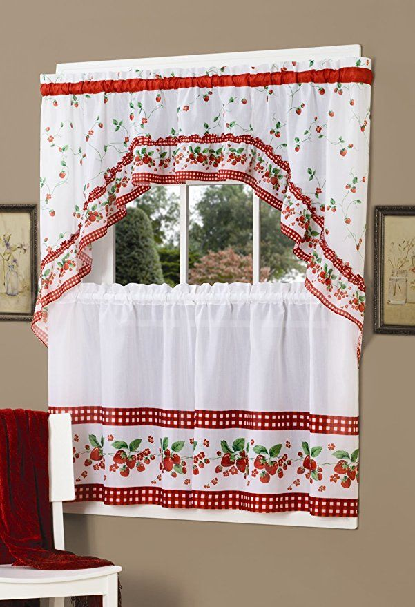 Achim Home Furnishings Strawberry Tier And Swag Set 57 Inch By 24