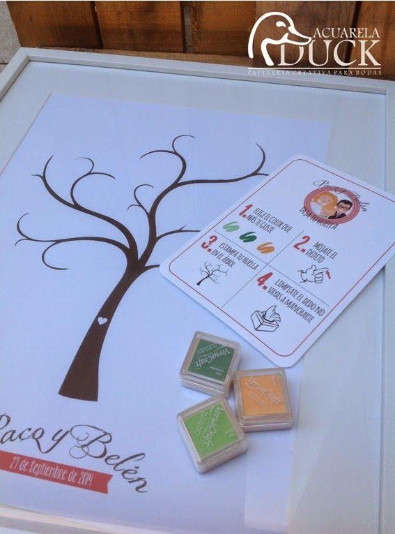 Árbol de huellas boda. Libro de firmas