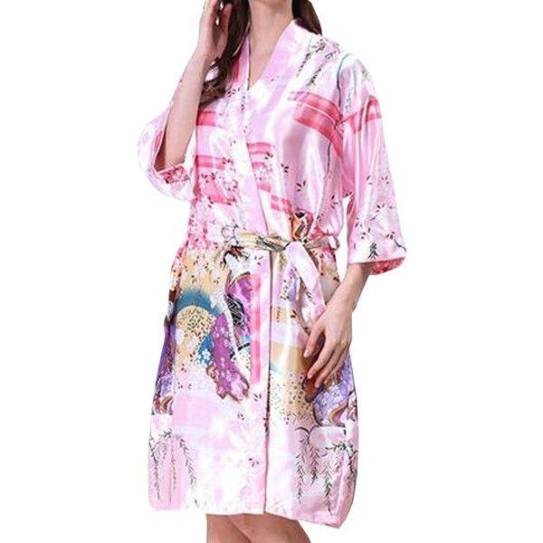 Partiss Women's Kimono Robe Printed Lotus Silk Bridal Robe Nightwear ($14) ❤ liked on Polyvore featuring intimates, robes, silk bath robes, silk kimono robe, kimono bath robe, bridal robes and silk robe