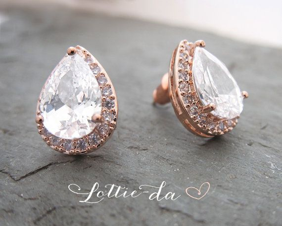 Vintage Style Rose Gold or Gold Pear Shaped earrings Wedding