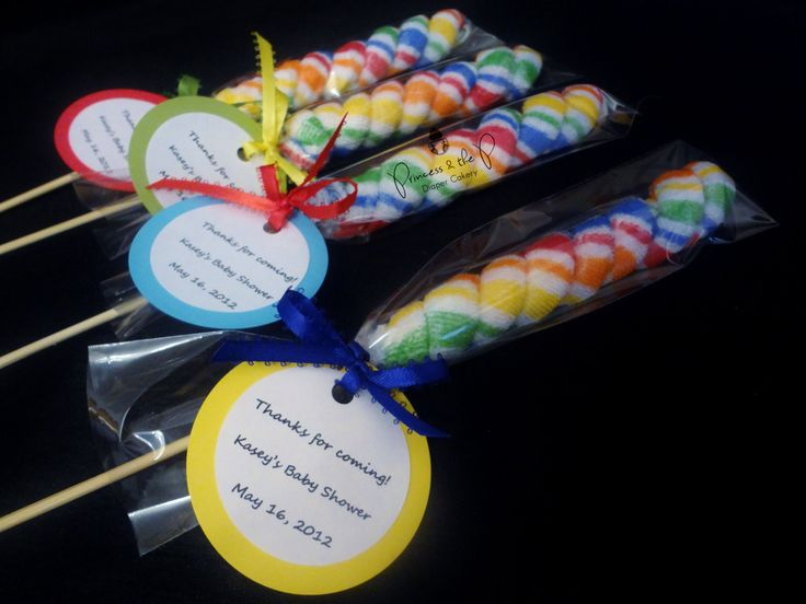 Washcloth Lollipops -  Baby Shower Favor, Decoration, Centerpiece, party Gift via Etsy.