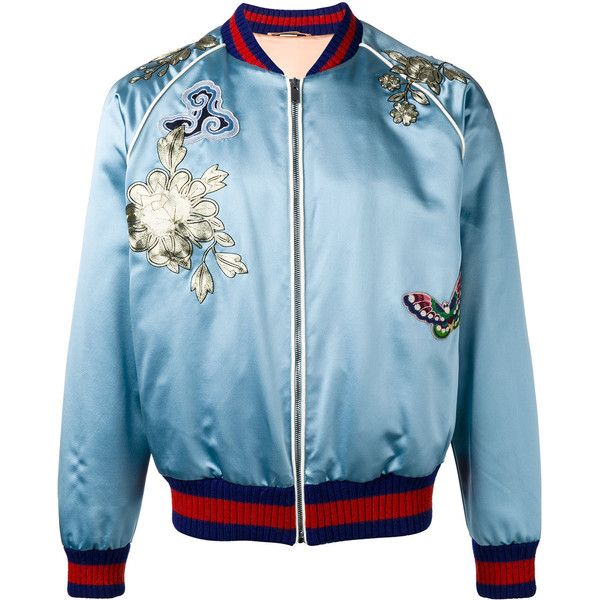 Gucci embroidered bomber jacket (23 370 PLN) ❤ liked on Polyvore featuring men's fashion, men's clothing, men's outerwear, men's jackets, gucci, blue, mens silk jacket, men's stand collar jacket, mens embroidered jacket and mens blue jacket