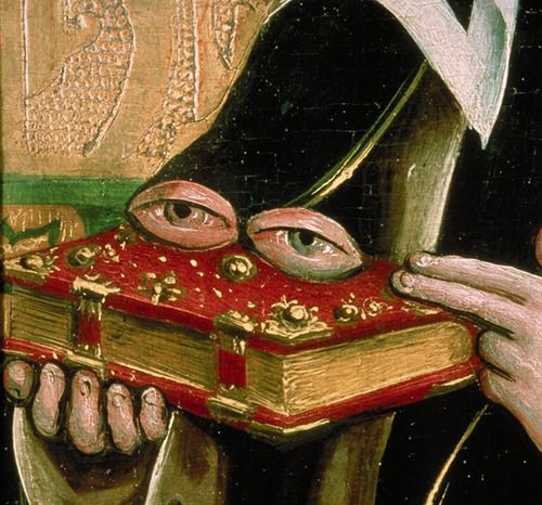 St Odile of Alsace (c. 662 - c. 720), patron saint of eyes, said to have been born blind and recovered her eyesight in a miracle,  often shown with a pair of eyes resting on a book. Detail of an Austrian triptych, tempera on wood (1491).