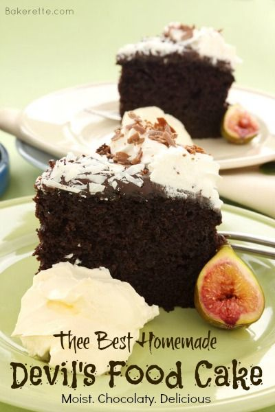 Thee best homemade Devil's Food Cake. Moist, chocolaty, and delicious. Bakerette.com