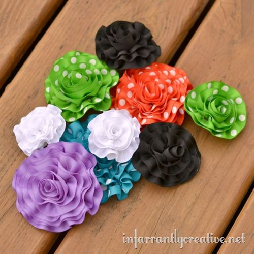 Rolled Ribbon Flowers