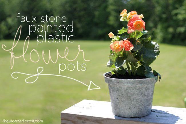 So erhalten eure Kunststoff Blumentöpfe eine einzigartige tolle Steinoptik.