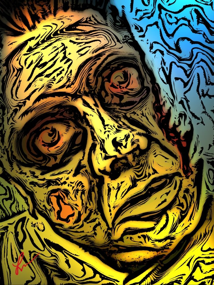 Zombie Self Portrait - By Mike Lucas: Mike Artworks, Mike Lucas, Self Portraits