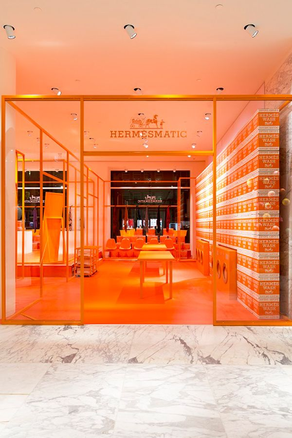 PARIS – Hermès launches a series of pop-up laundromats to celebrate the 80th anniversary of its signature silk scarves. The concept stores will be spread all over the world in cities such as Amsterdam, Munich, Strasbourg and Kyoto.Existing scarves get a new lease of life thanks to washing machines; the products are reinvented with a blue or pink rinse before being placed in a dryer that can return its authentic softness. Orange, Hermès' signature colour, spans the entire interior. Every inch…