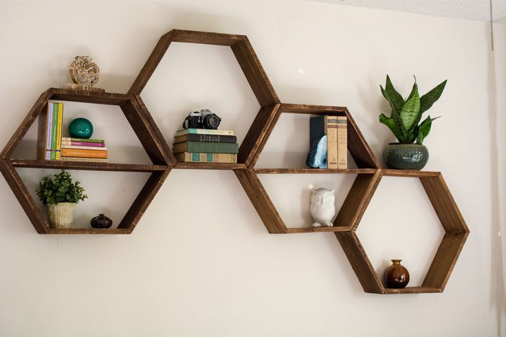 DIY Honeycomb Hexagon Shelves - living room