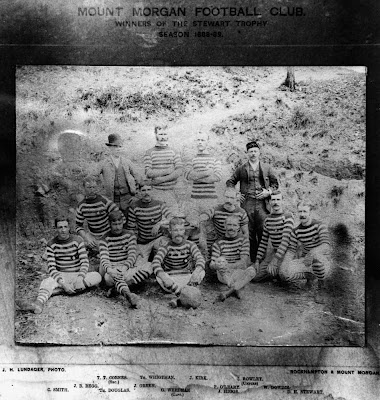 Photo from from the NLA pictorial database or the NLA digital newspaper archive. Thanks to Neos Osmos. Mount Morgan Football Club, 1889