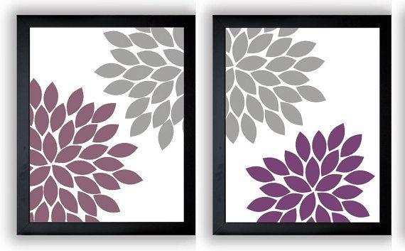 Flower Print Grey Gray Purple Plum Chrysanthemum Flowers Art Print Wall Decor Modern Minimalist Bathroom Bedroom