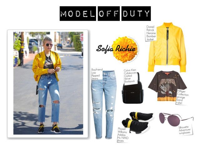 """""""Model Off Duty: Sofia Richie with a yellow jacket"""" by animal-lover-01 ❤ liked on Polyvore featuring Hilfiger Collection, Calvin Klein, Post-It, Silhouette, yellow, adidas, bomberjackets, SofiaRichie and modeloffduty"""