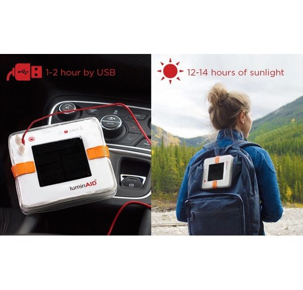 "The PackLite Max Phone Charger is solar inflatable lantern & phone charger. It packs flat and inflates into a lightweight, waterproof, 150 lumen lantern. LuminAID invented solar inflatable technology based on a simple idea: inflating diffuses the light, similar to a lantern, and protects your eyes from harsh glare. It twists flat to less than 1"" thick and inflates into a 6"" cube. Lightweight, portable, waterproof, and super bright-- what else do you need?"