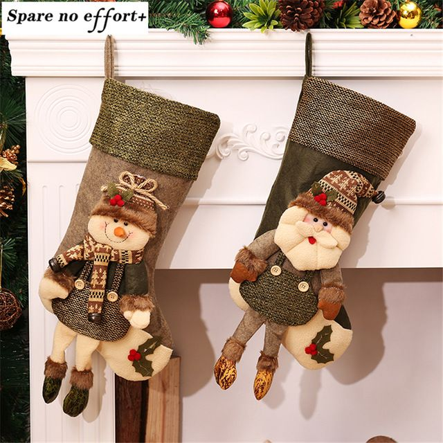 Grande de La Vendimia Medias De Navidad Relleno Artificial Árbol De Navidad Adornos de Navidad Decoraciones para el Hogar