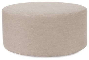 Prairie Linen Natural Universal 36 Round Ottoman - Contemporary - Ottomans And Cubes - Fratantoni Lifestyles