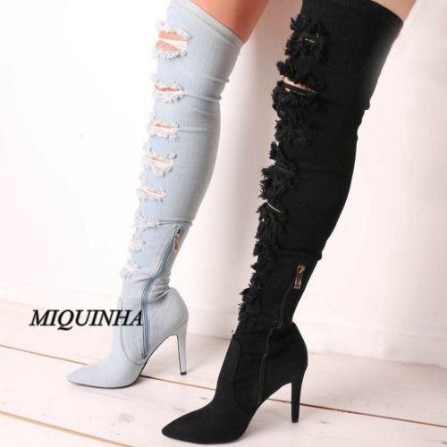 De moda los pantalones vaqueros vendedores calientes de las mujeres botas largas recortes zipper punta estrecha thin zapatos de tacón alto de alta del muslo sexy patchwork calzado en Botas por encima la rodilla de Zapatos en AliExpress.com | Alibaba Group