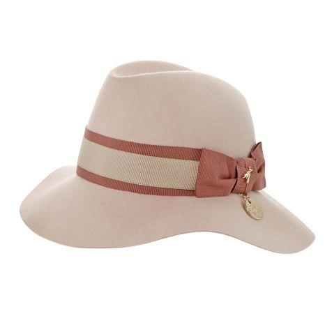 Panamahut, Hutband zweifarbig, Metallanhänger, klassisch, Wolle Vorderansicht