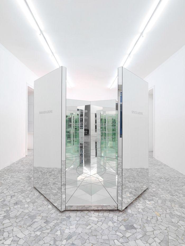 il labirinto della memoria | anne & patrick poirier (2007), mirror and wooden structure, sanded writings