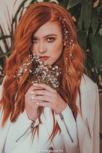 Kat McNamara by Chris Dylan and Mane Addicts Red Hair Braids and Flowers