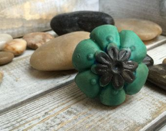 Bright Turquoise green Handmade Ceramic Pottery knob / dresser drawer pull - Edit Listing - Etsy