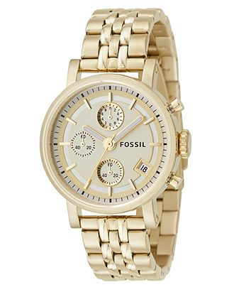 Fossil Watch, Women's Gold Plated Bracelet ES2197 - All Watches - Jewelry & Watches - Macy's