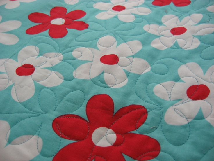 red and aqua quilts | Hooked on Needles: Red and Aqua Quilt ~ Finally Quilted!
