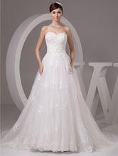 2016 branco / marfim luxo Vestido De Noiva Robe De Mariage nupcial A linha Tulle Lace Applique vestidos De Casamento Casamento YN 9503 alishoppbrasil