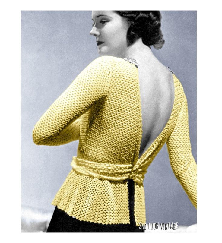 Vintage Crochet Pattern 1930s Lacy Plunging Back Blouse PDF. $5.00, via Etsy.