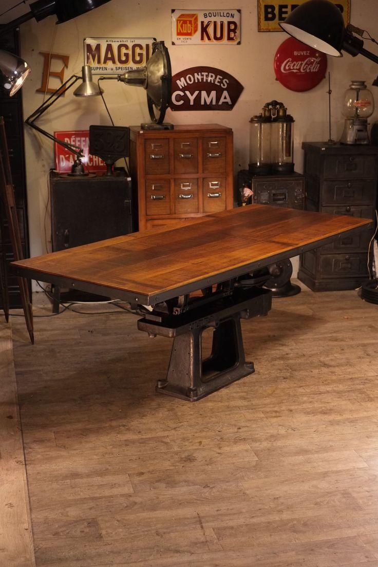 Table ancienne pied fonte deco meuble industriel for Meuble industriel table