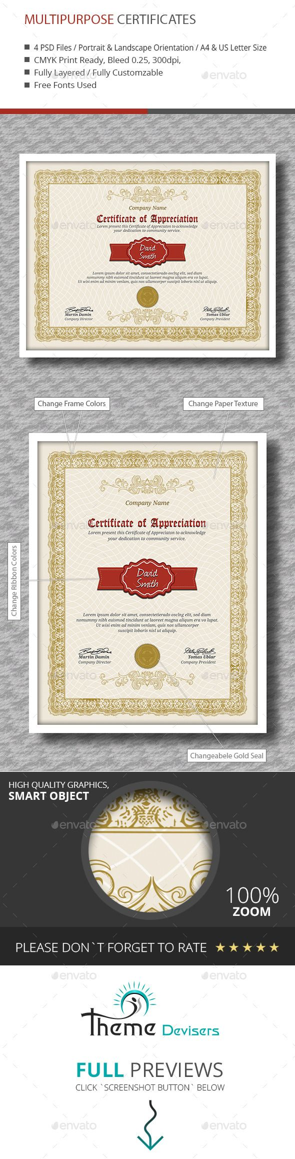 34 best certificate templates psd images on pinterest font logo certificate yadclub Image collections
