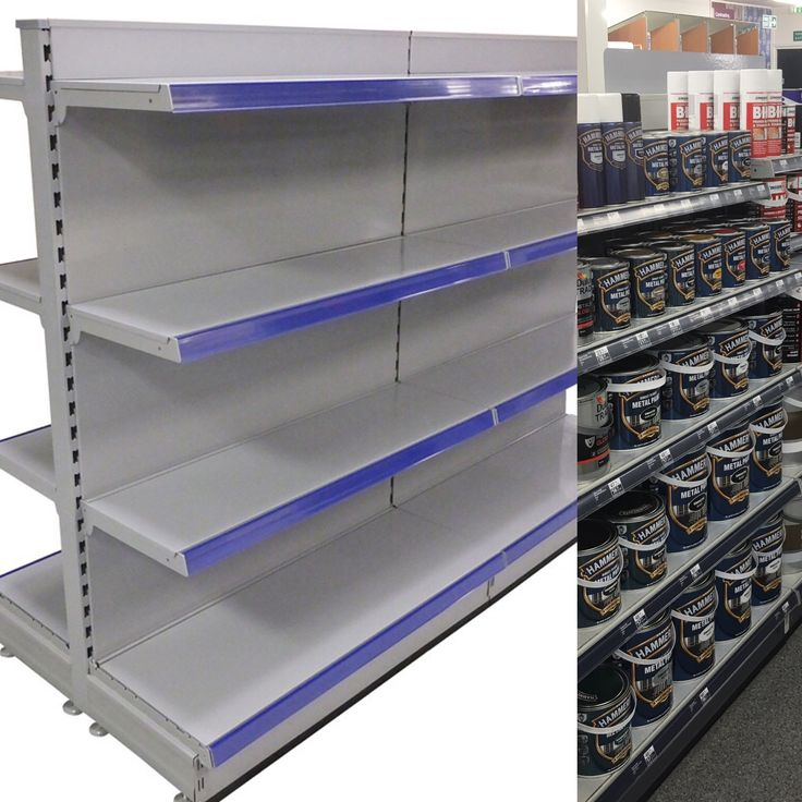 Quality silver gondola shelving with heavy duty shelves perfect for  paint display and any heavier product display such as pet food display etc. The image is of a standard gondola shelving unit with 8 shelves and blue epos shelf trim  #shelving #gondolashelving #silvershelving #epos