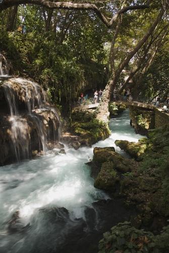A few yards downriver of Kursunlu Falls, or Upper Duden Falls, near Antalya, on the Mediterranean coast of Anatolia, Turkey