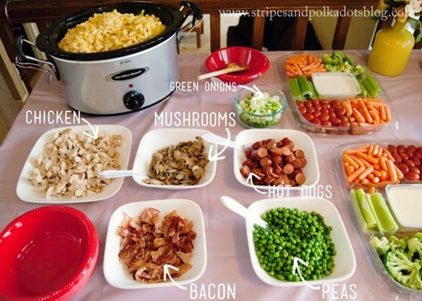 Stripes and Polka Dots: Macaroni and Cheese Bar. Delicious Crock Pot Mac and Cheese...plus multiple topping and mix-ins. Adult and kids will love it!