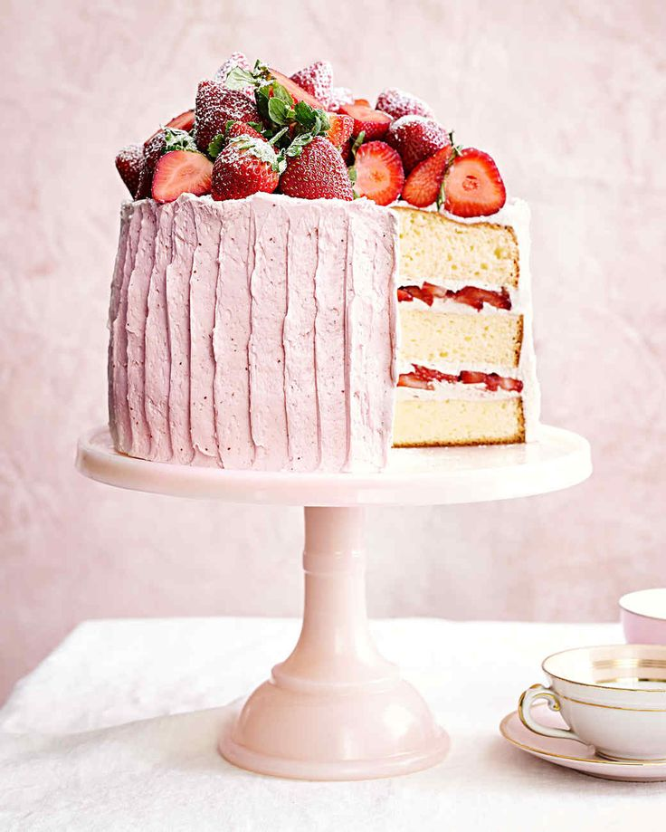 Vanilla Sponge Cake with Strawberry-Meringue Buttercream Recipe | Martha Stewart